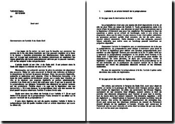 Commentaire de l'article 5 du Code civil - le pouvoir législatif: les juges sous le pouvoir de la loi et la limitation de la jurisprudence
