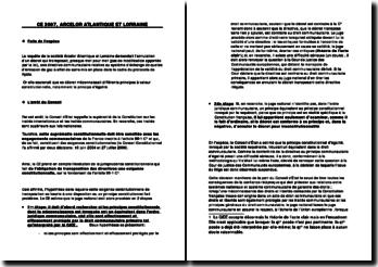 Fiche d'arrêt du Conseil d'Etat du 8 février 2007 : Arcelor Atlantique et Lorraine