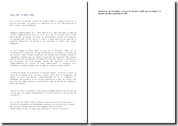 Fiche d'arrêt de la Chambre sociale de la Cour de cassation du 16 mars 1999 : la requalification de deux contrats emploi-solidarité