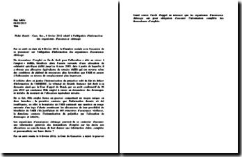Fiche d'arrêt de la Chambre sociale de la Cour de cassation du 8 février 2012 : l'obligation d'information des organismes d'assurance chômage