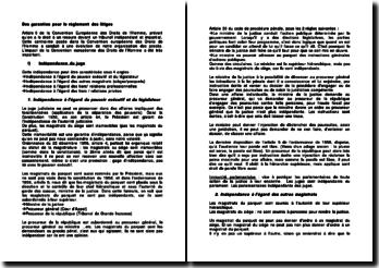 Des garanties pour le règlement des litiges : l'indépendance du juge