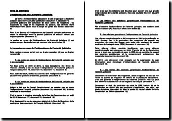 L'indépendance de l'autorité judiciaire: les magistrats du siège et les magistrats du parquet