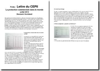 Lettre du CEPII. La protection commerciale dans le monde - Houssein Guimbard
