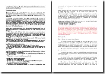Les principes généraux du droit et les principes fondamentaux reconnus par les lois de la République