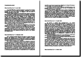 Présentation de six fiches d'arrêt de droit civil portant sur l'inexécution du contrat