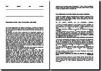 Commentaire d'arrêt de la Chambre commerciale de la Cour de cassation du 22 mai 2001 : la fixation du montant de la prime d'émission