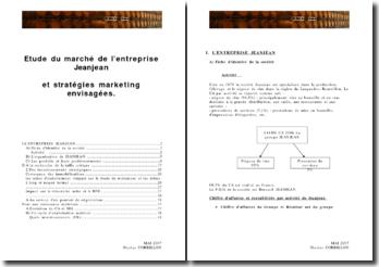 Etude du marché de l'entreprise Jeanjean et stratégies marketing envisagées