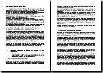 Commentaire d'arrêt de la Première Chambre civile de la Cour de cassation du 18 mai 2005 : le principe de primauté