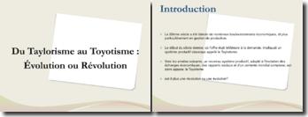 Du Taylorisme au Toyotisme : évolution ou révolution