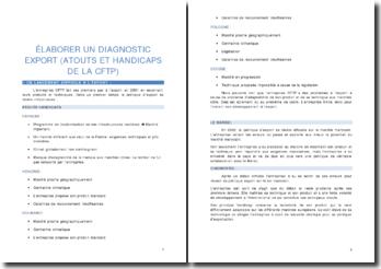 Elaboration d'un diagnostic export (atouts et handicaps de l'entreprise CFTP)
