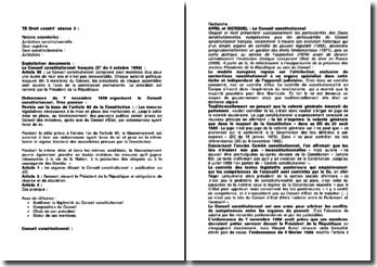 Méthodologie d'un TD de droit constitutionnel sur la réforme du Conseil