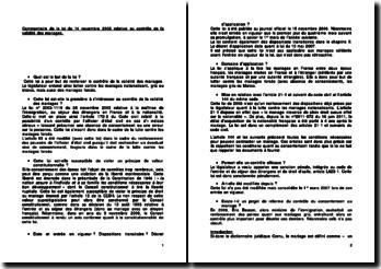 Commentaire de la loi du 14 novembre 2006 relative au contrôle de la validité des mariages