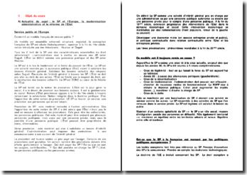 Le service public et l'Europe, la modernisation administrative et la réforme de l'Etat