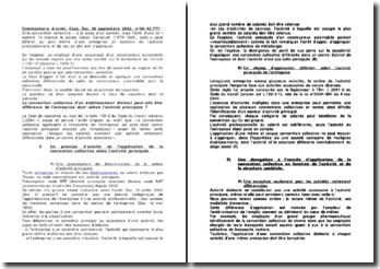 Commentaire d'arrêt de la Chambre sociale de la Cour de cassation du 26 septembre 2002 : la convention collective d'un établissement distinct