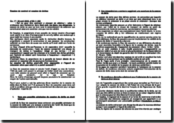 Commentaire d'arrêt de la Première Chambre civile de la Cour de cassation du 30 avril 2009 : la cession de contrat et cession de dettes