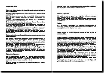 Compte rendu procès : la 15e Chambre du Tribunal de grande instance de Paris, le jeudi 17 janvier 2013 et la 23e Chambre du Tribunal de grande instance de Paris, le jeudi 20 novembre 2008