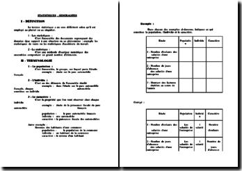 Définition et terminologie des statistiques