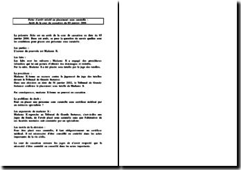 Fiche d'arrêt de la Cour de cassation du 3 janvier 2006 : le placement sous curatelle