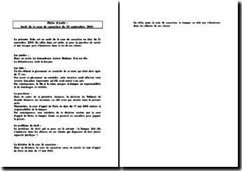Fiche d'arrêt de la Cour de cassation du 21 septembre 2004 : la responsabilité de la banque