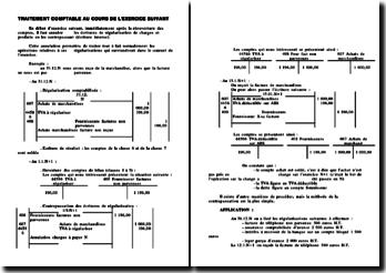 Traitement comptable de la régulation des charges et produits au cours de l'exercice suivant