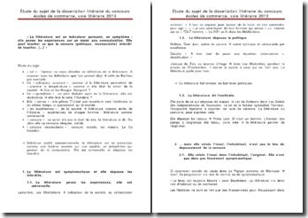 Etude du sujet de la dissertation littéraire du concours écoles de commerce, voie littéraire 2013