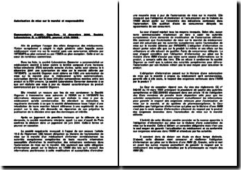 Commentaire d'arrêt de la Chambre commerciale de la Cour de cassation du 12 décembre 2006 : l'autorisation de mise sur le marché et responsabilité