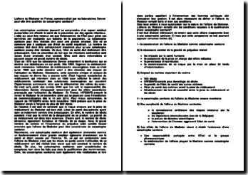 L'affaire du Mediator en France, commercialisé par les laboratoires Servier peut-elle être qualifiée de catastrophe sanitaire?