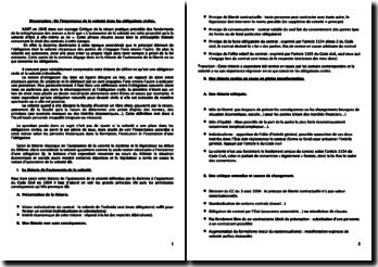 De l'importance de la volonté dans les obligations civiles (plan détaillé)