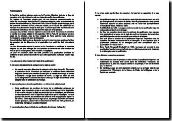 Commentaire d'arrêt de la Première Chambre civile de la Cour de cassation du 22 juin 1955 : les règles de conflits de qualification