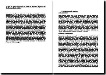 Le rôle du Parlement d'après le traité De Republica Anglorum de Sir Thomas Smith (1583)