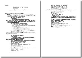 La phrase complexe en anglais: les subordonnées complétives et circonstancielles