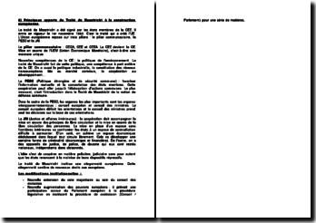 Principaux apports du Traité de Maastricht à la construction européenne