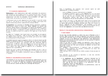 Les institutions administratives : les collectivités territoriales et les personnes publiques spécialisées