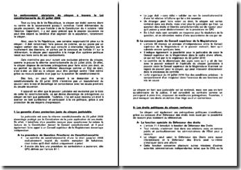 Le renforcement statutaire du citoyen à travers la Loi constitutionnelle du 23 juillet 2008