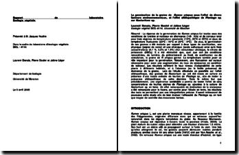 La germination de la graine de Rumex crispus sous l'effet de divers facteurs environnementaux, et l'effet allélopathique de Plantago sp. sur Nasturtium sp.