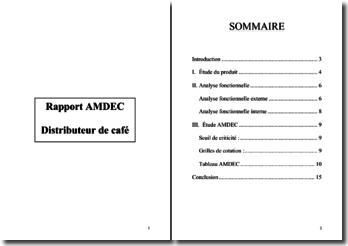 L'étude AMDEC d'un distributeur automatique de café