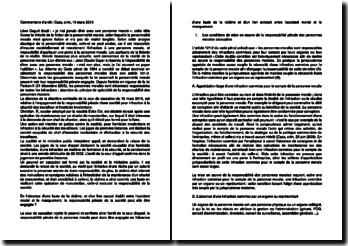 Commentaire d'arrêt de la Chambre criminelle de la Cour de cassation du 16 mars 2010 : la responsabilité pénale de la personne morale