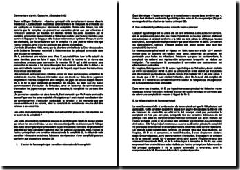 Commentaire d'arrêt de la Chambre criminelle de la Cour de cassation du 25 octobre 1962 : les actes de complicité
