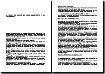 Le principe de légalité des actes administratifs et ses tempéraments