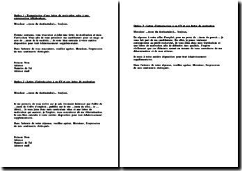 Exemple de trois lettres introduisant un CV et une lettre de motivation par mail