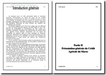 Rapport de stage au sein du Crédit Agricole Agence Al Fath Oujda au Maroc