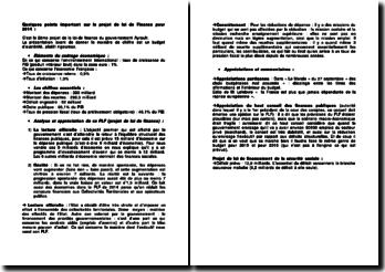 Quelques points importants sur le projet de loi de Finance pour 2014