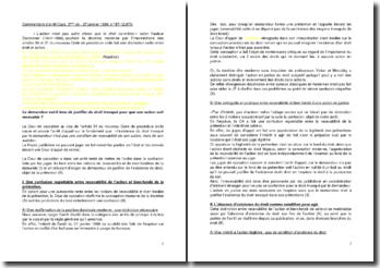 Commentaire de l'arrêt de la Troisième Chambre civile de la Cour de cassation du 27 janvier 1999 : la recevabilité et le bien fondé de la prétention