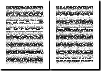 Commentaire littéraire de Thérèse Raquin - Émile Zola (1867)