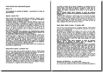 Fiches d'arrêts Droit administratif général : Les exceptions au principe de légalité : circonstances et actes de gouvernement
