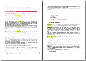 Causes et règles d'exigibilité des BIC
