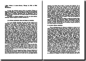 Entre réforme et contre-réforme, l'Europe du XVIe et XVIIe siècle
