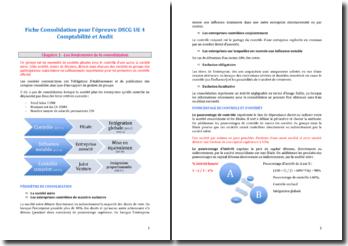 La consolidation pour l'épreuve DSCG UE 4 Comptabilité et Audit