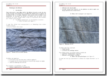 Les défauts des tricots : le catalogue de défauts