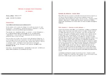 Méthode et exemple d'écrit d'invention en français